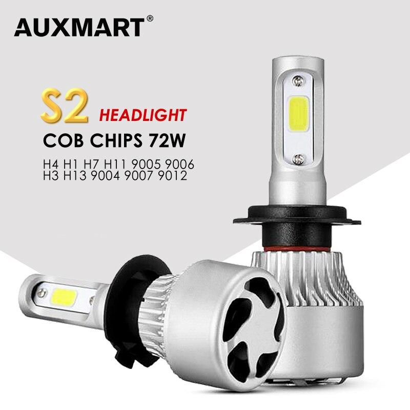 AUXMART 3 Chips 9007 9004 H13 H4 LEVOU Lâmpada Do Farol Do Carro 72 W 6500 K COB 2 Chips para 9012 9005 9006 H1 Levou Lâmpada H3 H7 H11 luzes de Nevoeiro