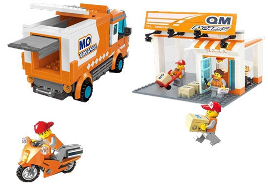 Enlighten Express Delivery Company City Series Courier Bricks Toys For Children Building Block Sets Compatible With Legoe City 2017 enlighten city series garbage truck car building block sets bricks toys gift for children compatible with lepin