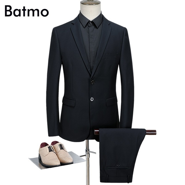 Batmo 2018 New Arrival Spring High Quality Black Smart Casual Suits
