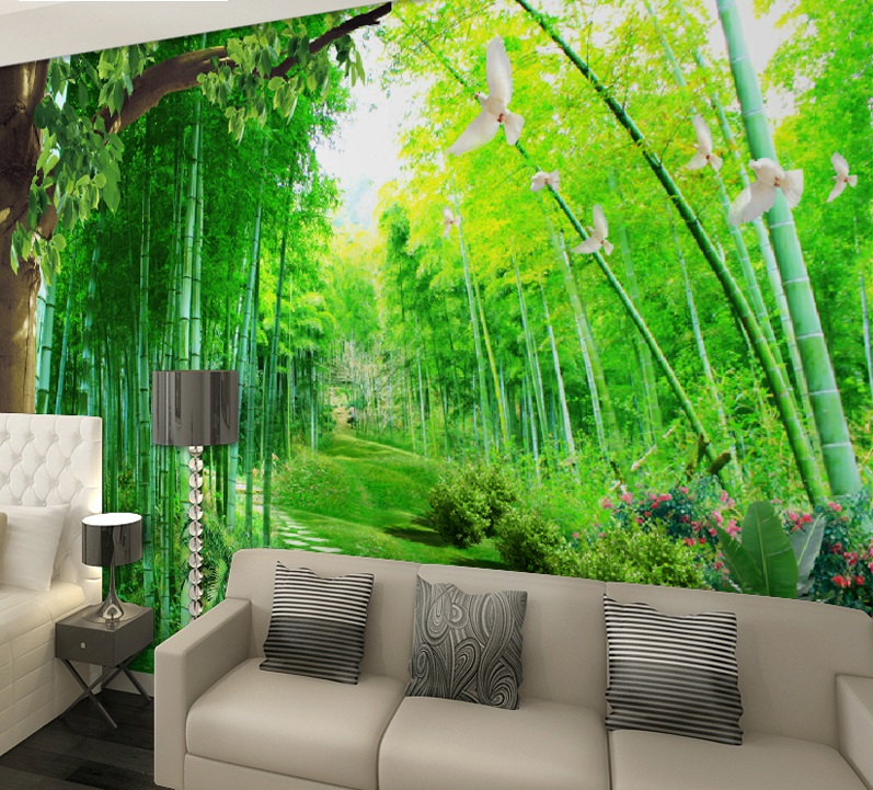 Art Silk Canvas Forest Path Sunbeam Poster Print Wall Pictures Living Room Decor