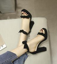 Fashion Designer Summer Women High Heel Sandals Solid Black Butterfly Elegant Pumps Heel Platform Knot Ankle