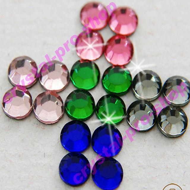 7200pcs ( 5 color) 5mm Bulk Wholesale 20ss Hotfix Glass Crystal Iron On Loose Stone Round FLATBACK Hot-fix Rhinestones (5m-BigC)