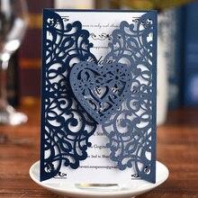 10 шт. лазерная обработка карт жемчужная бумага цветочный в форме сердца для свадьбы Пригласительные открытки на свадьбу День рождения Юбилей