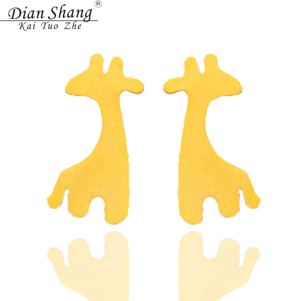 Dianshangkaituozhe 10pcs Fashion Earrings Minimalist Cute Animal Boby  Giraffe Stud Earrings For Girl Stainless Steel Earrings