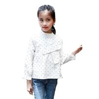 Kids Weiß Blusen Für Mädchen T-shirts Langarm Polka Dot Shirts Herbst Bodenbildung Schuluniformen Studenten Kleidung Kinder Tops
