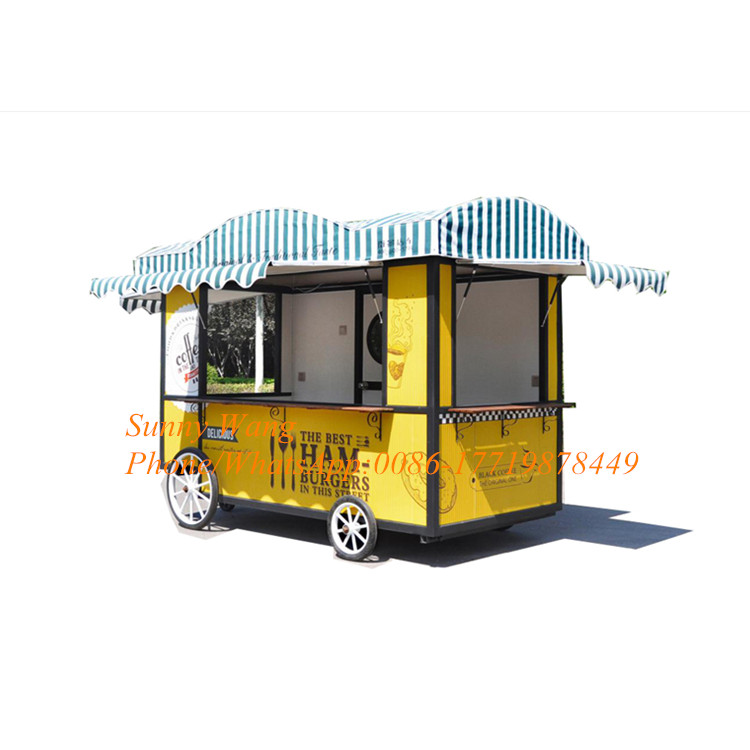 Yellow Color Ice Cream Cart Food Trucks Mobile Van Food Trailer Street Food Vending Cart For Sales