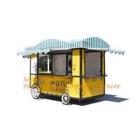 yellow color ice cream cart food trucks mobile van food trailer street food vending cart for sales