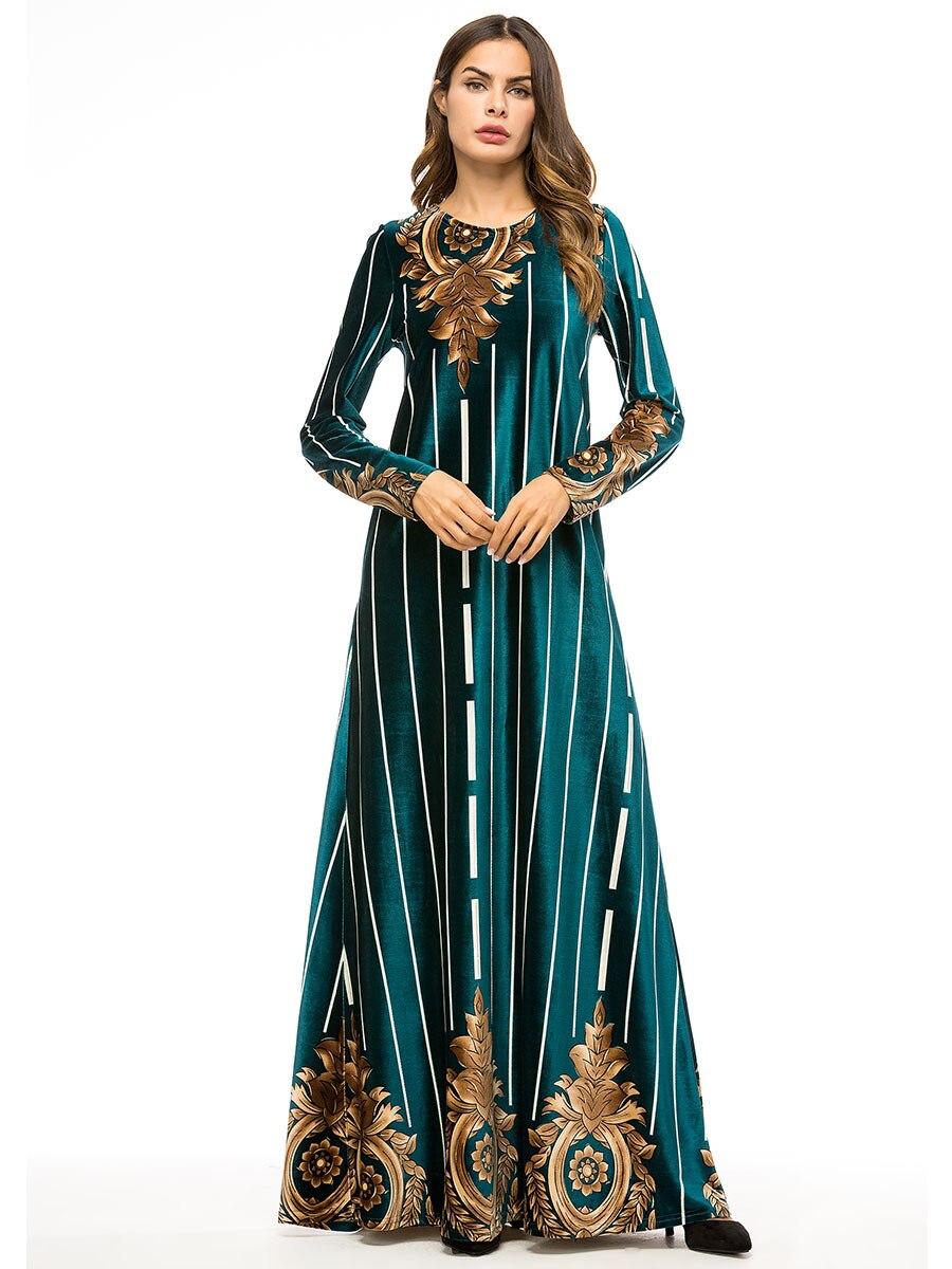 Dames robes de soirée longue Robe en velours femme Maxi-parole longueur arabe Robe musulmane à manches longues Robe hiver femme vêtements