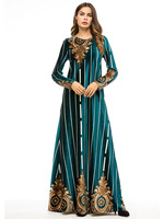 Ladies Party Dresses Long Velvet Dress Woman Maxi Floor Length Arabian Muslim Robe Long Sleeve Dress Winter Female Clothing