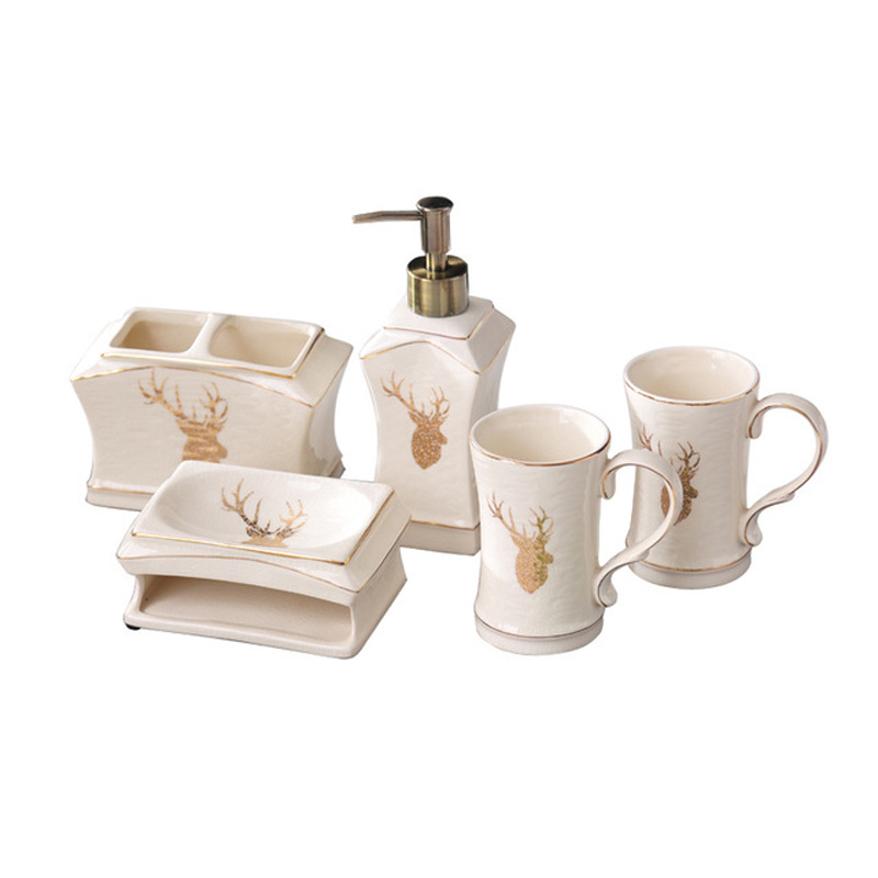 Wourmth 5 pièces ensemble de salle de bain en céramique liquide bouteille distributeur porcelaine savon porte-brosse à dents décoration de la maison nouvel an cadeau - 4