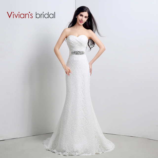 Vivians Bridal Sexy Cheap Price Fashionable Mermaid Wedding Dresses Lace Appliques Bow Ribbons Dress Gown