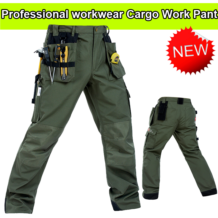 Bauskydd Men's High Quality Polycotton Workwear Wear-resistance Multi-pockets Mens Cargo  Work Trousers Work Pant Army Green
