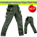 Men's High quality Polycotton workwear wear-resistance multi-pockets mens cargo  work trousers work pant army green