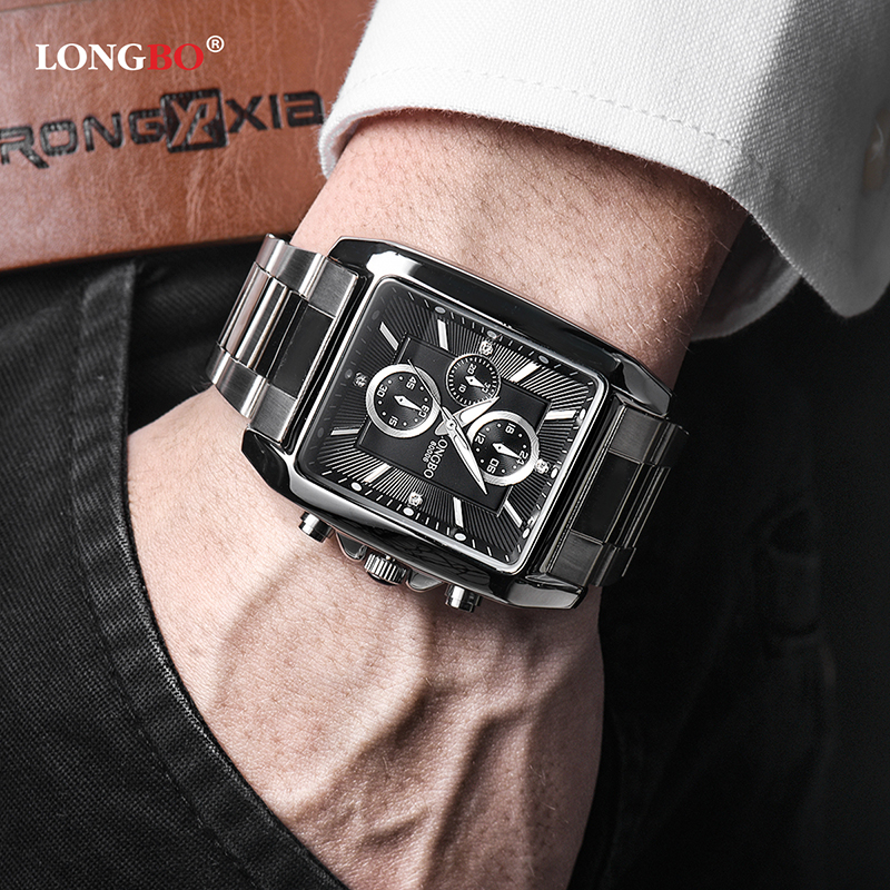 Longbo Brand Fashion Watch Men Stainless Steel Classic Rectangle Dial Business Quartz Wristwatch Male Clock Relogio Masculino