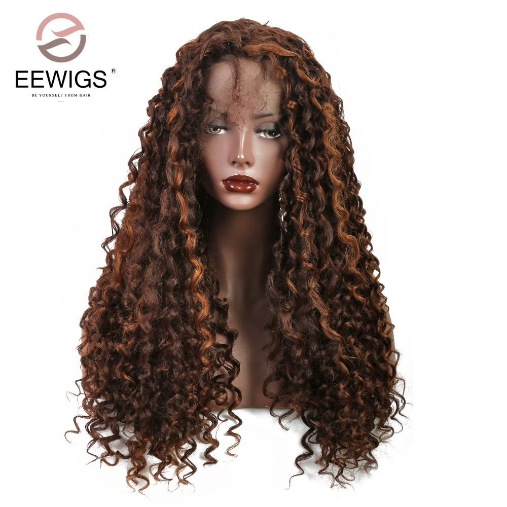 Long Kinky Curly Synthetic Lace Front Wig Brown Wig Heat Resistant Fiber For Women Daily 180% Heavy Density Blonde 26 Inch