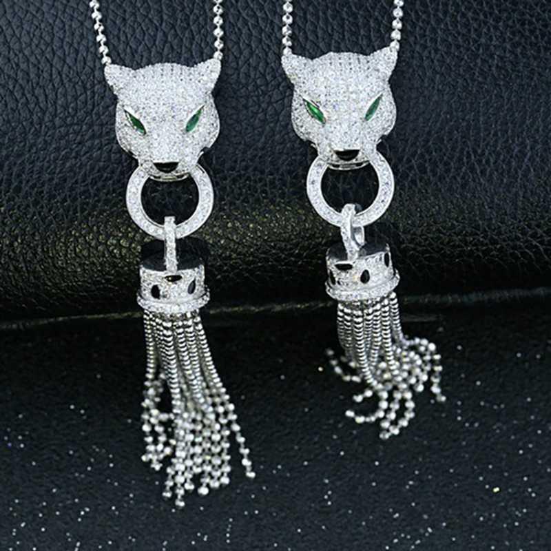 พู่หรูหรา AAA Zircon 925 Sterling Silver Leopard สร้อยคอ Cuff ต่างหูชุดเครื่องประดับ AP * สัตว์สร้อยคอผู้หญิงงานแต่งงานชุด