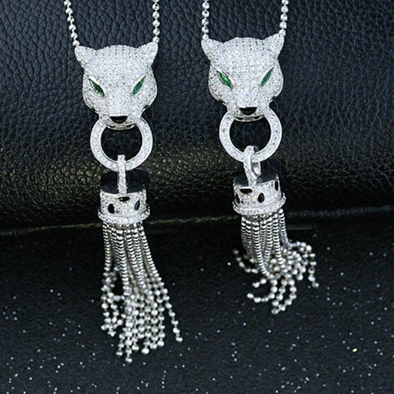 Luxus Quaste AAA Zirkon 925 Sterling Silber Leopard Halskette Stulpeohrring Schmuck Set AP * Tier Halskette Frauen Hochzeit Set-in Schmucksets aus Schmuck und Accessoires bei  Gruppe 3