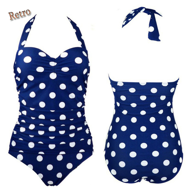 e10ddf608631a Retro polka dot swimsuit anchor bathing suit woman big size swimwear one  piece swimming suit sexy