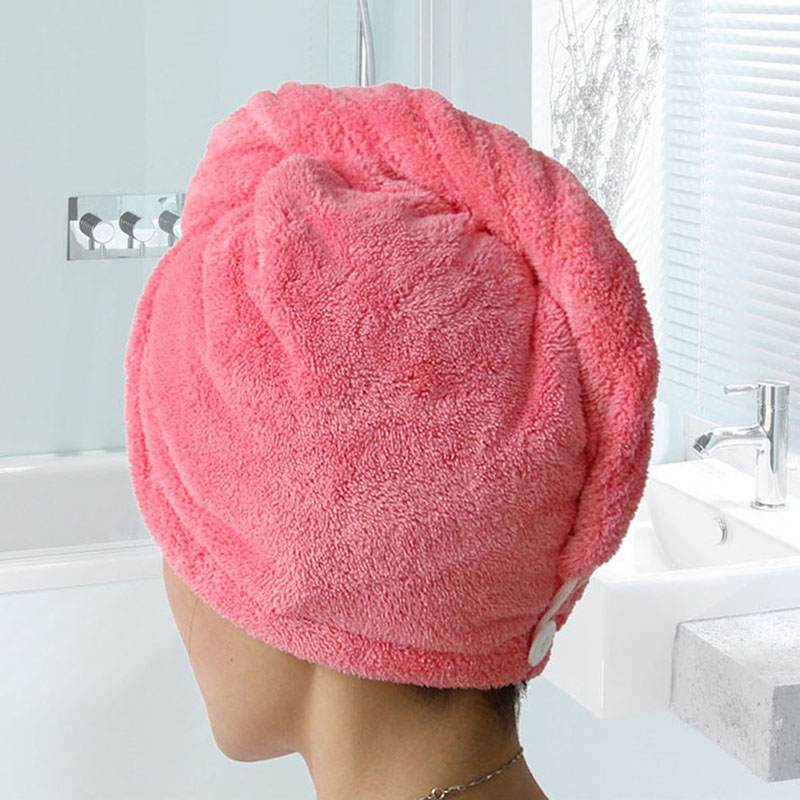 Women's Bathroom Super Absorbent Quick-drying Velvet Fabric Hair Towel Bath Dry Cap Solid Towel