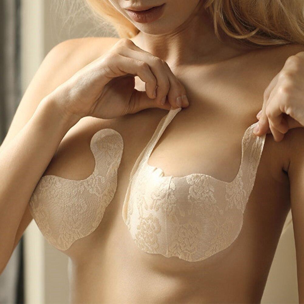 1 Pcs Women Push Up Adhesive Seamless Invisible Sexy Intimate Sticker Disposable U Shape Bra Lace Breast Petals Sweatproof