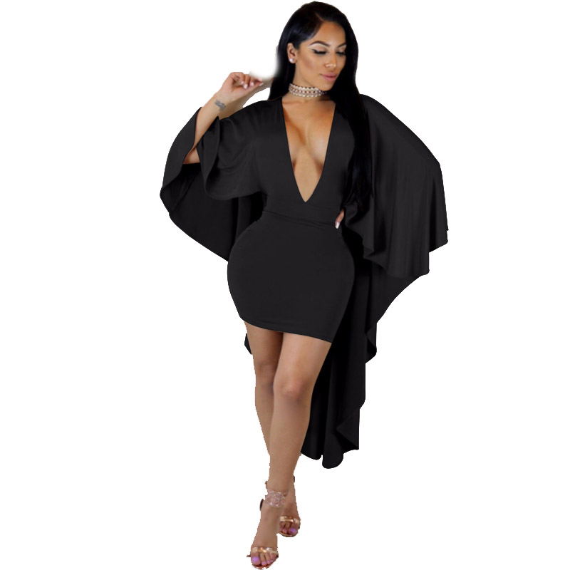 Women New Arrival 2018 Hot Sexy Deep V Neck Night Party Club Evening Stretch Bodycon Above Knee Shawl Wrap Mini Dess 355080