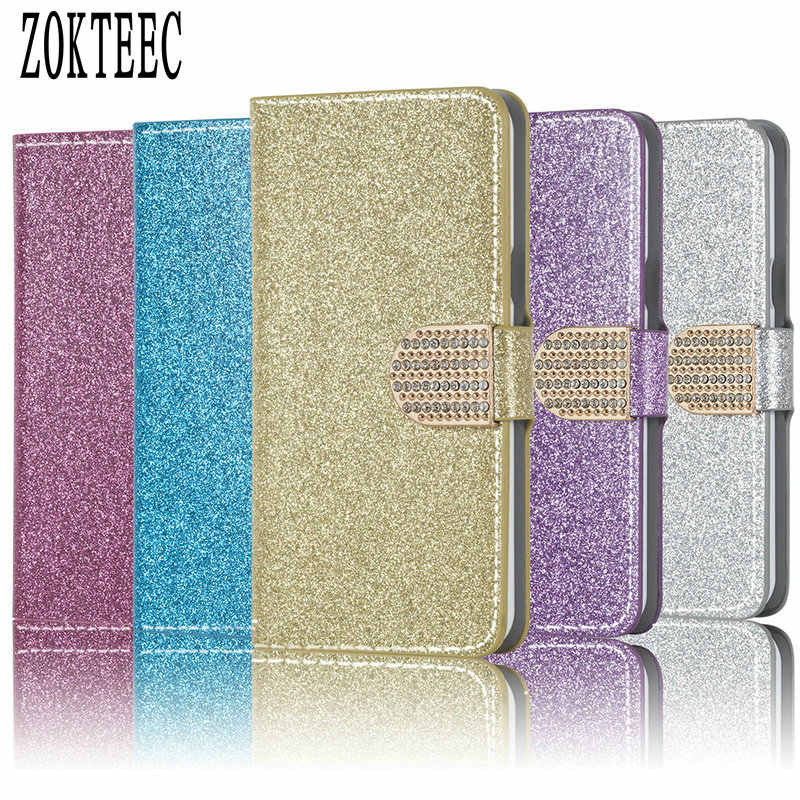 ZOKTEEC Cover For Vernee Mix 2 case Deluxe Shiny Leather Phone Case Cover For Vernee Mix 2 case Flip Case with Camellia