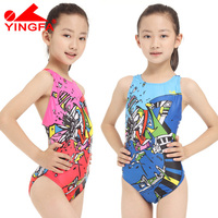 Yingfa children one piece swimwear kids girls racing bathing suits competition swimsuits tight girls professional swimsuits
