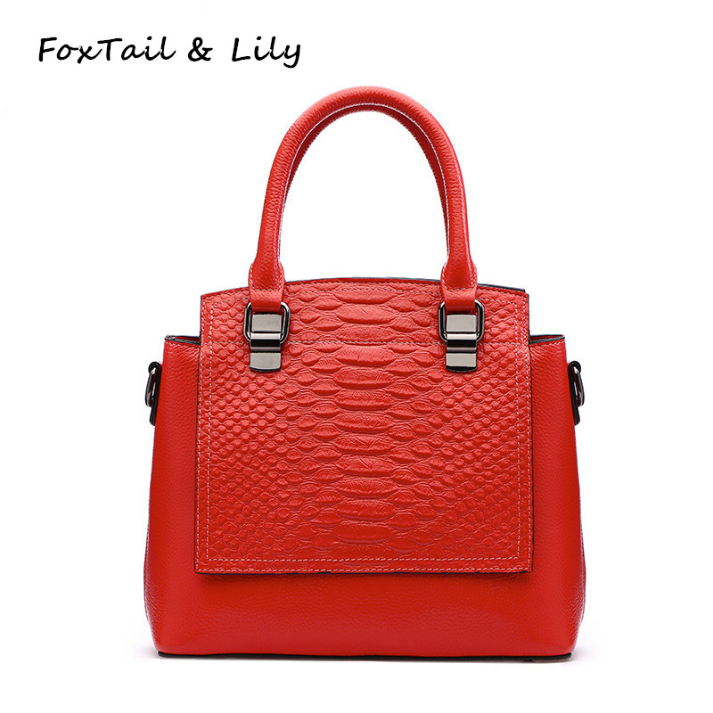 FoxTail & Lily Brand Genuine Cow Leather Handbag Women Crocodile Pattern Tote Shoulder Bag High Quality Designer Crossbody Bags fashion genuine leather women handbag cowhide shoulder bag crocodile pattern brand portable bag casual tote diagonal package