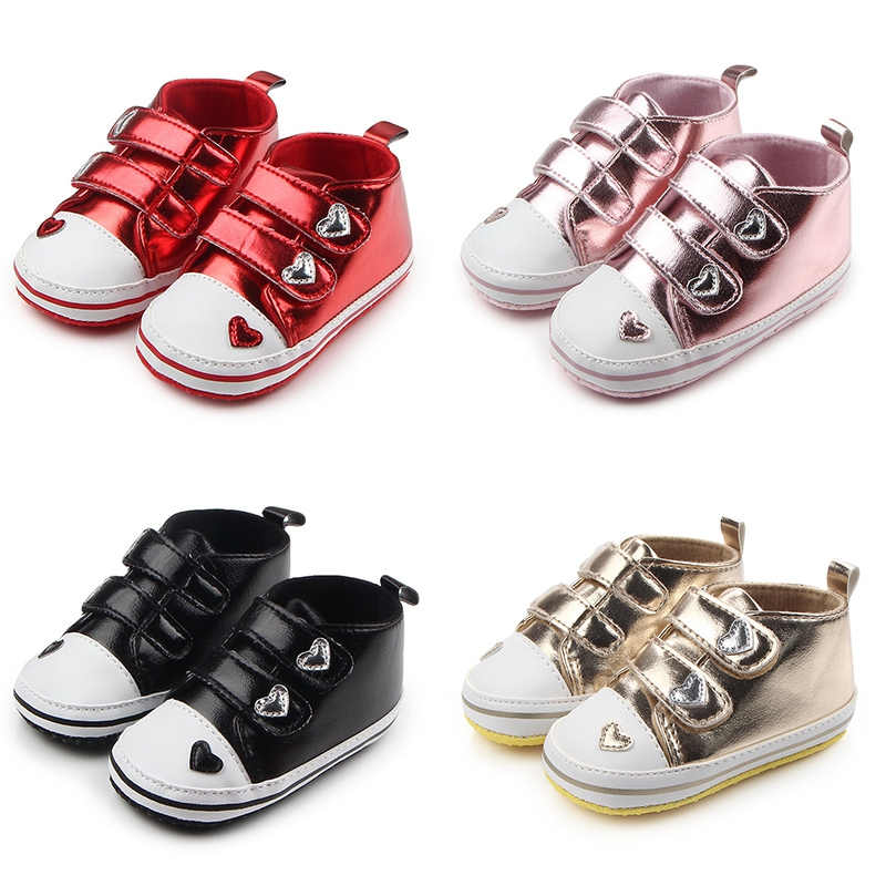 New Hot Selling Boys Shoes Newborn Baby Girls Classic Heart-shaped PU Leather Tennis Lace-Up First Walkers Kids Sport Shoes