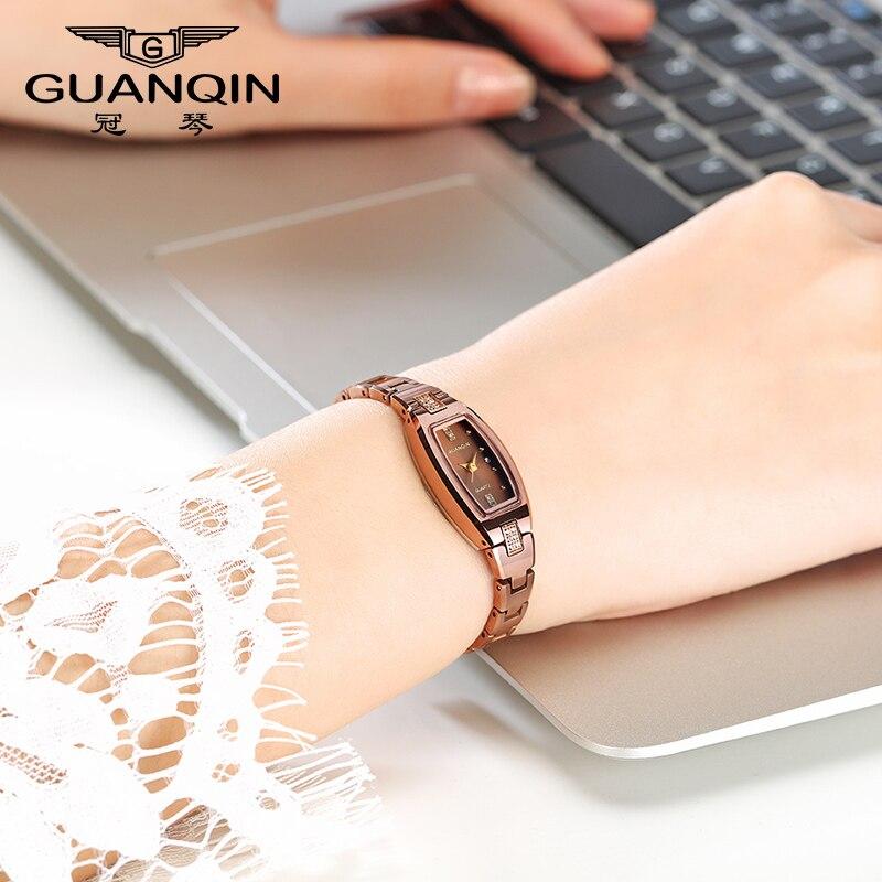 GUANQIN Fashion tungsten Steel Women Watches Tonneau Quartz Watch women with imported quartz movement,Sapphire Relogio feminino цена и фото