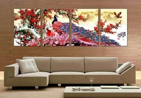 Long Tail Peacock Animal Traditional Chinese Style Flower Bird Canvas Oil Painting Wall Art Picture Home