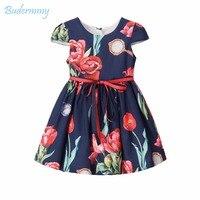 Ubrania dla dzieci dla Dziewczyn Dress Red Ślubne Kwiat Bow Belt Marka Maluch Dziewczyna Party Dress dla 2 3 4 5 6 8 Lat Dziewczynka Sukienka