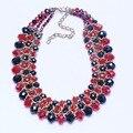 Мода Красный и черный натуральный ожерелье кристалла ожерелье заявление женщины цепи пряди ожерелье для Летию