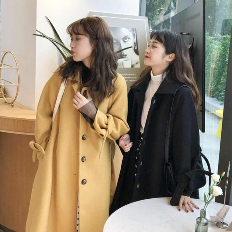 2019 Winter Wool Coat Female Korean Fashion High Quality Solid Breasted Long Coats Elegant Vintage Black Yellow Women Coat LW275