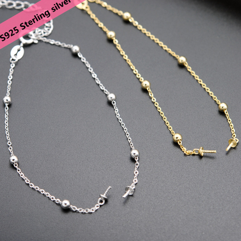 S925 Sterling Silver Silver beads Bracelet Findings DIY Women Pearl Jewelry Components Bracelet Semi-Finished Accessory