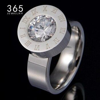 fb883c89c5b4 Marca CZ joyería 4 colores cristal piedra anillos intercambiables Acero  inoxidable grabado compromiso anillo de boda para mujer hombre