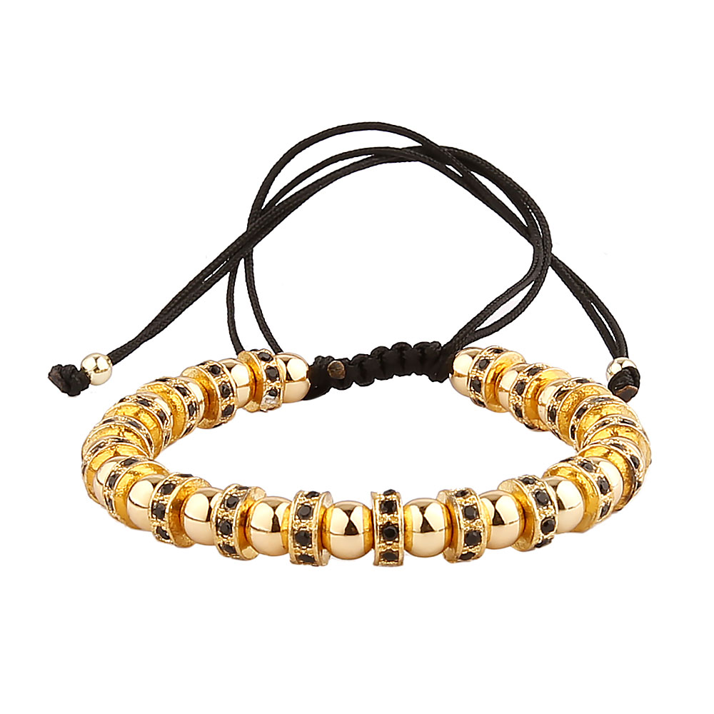 macrame mini gold black inicio round wide eye bracelet