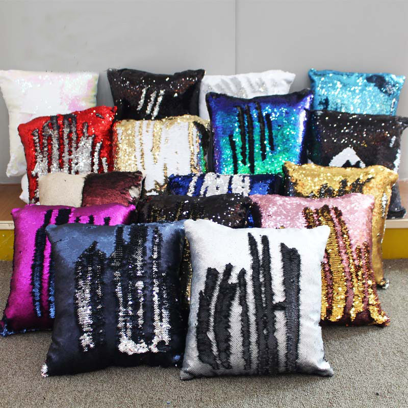 Paillette Mermaid Sequin Cushion Cover Magical Shining Smile Decorative Color Changing Reversible Patchwork Solid Pillow Cover