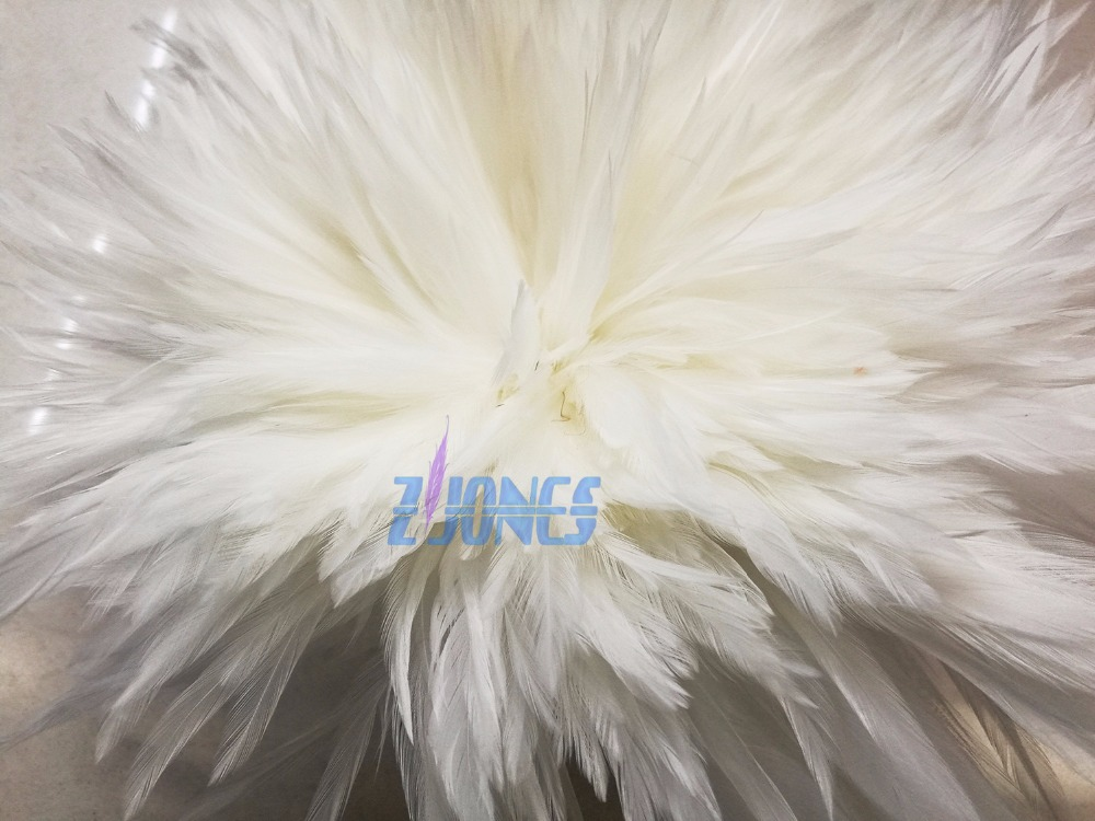 1 Single Pack Rooster Saddle Hackle Feather Strung 900pcs 15 20cm 6 8 quot White Chicken feather Trimming Cock Ribbons For Dress in Feather from Home amp Garden