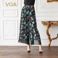 VOA 2018 шелк летние брюки с принтом Befree Pantalon Mujer Панталон сращены плиссе простые Широкие штаны Для женщин K639