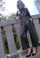 2017 Женская Натуральная кожа комбинезон длинные штаны натуральным из овечьей кожи весна, осень одежда без рукавов черный xxxl