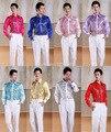 Plus size S-3XL 2015 novos Homens de moda show Lantejoulas camisa stage traje festa de dança colorido camisa de manga longa dos homens chemise homme