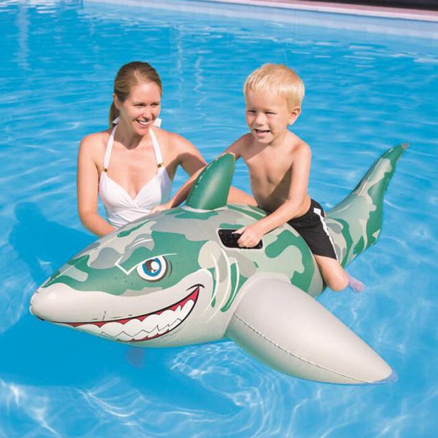 183*102 cm Crianças Piscina Flutuadores Bóia de Natação Colchão de Ar Inflável Do tubarão Ilha Flutuante Pontão Barco Da Água Do Brinquedo Divertimento do verão
