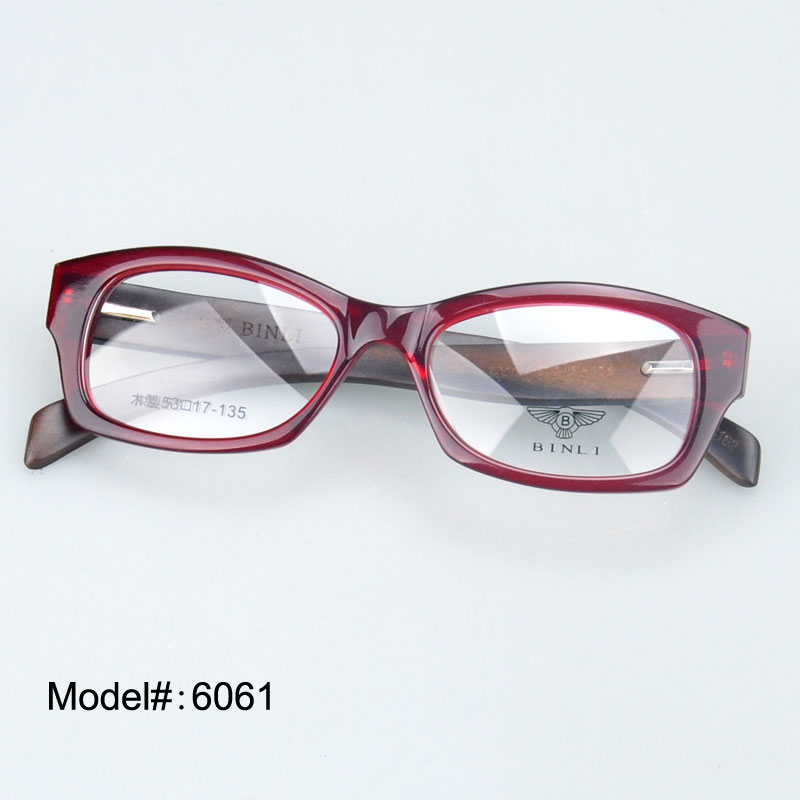 6061 spiring hinge full rim acetate frames wood temple myopia eyewear eyeglasses prescription spectacleschina