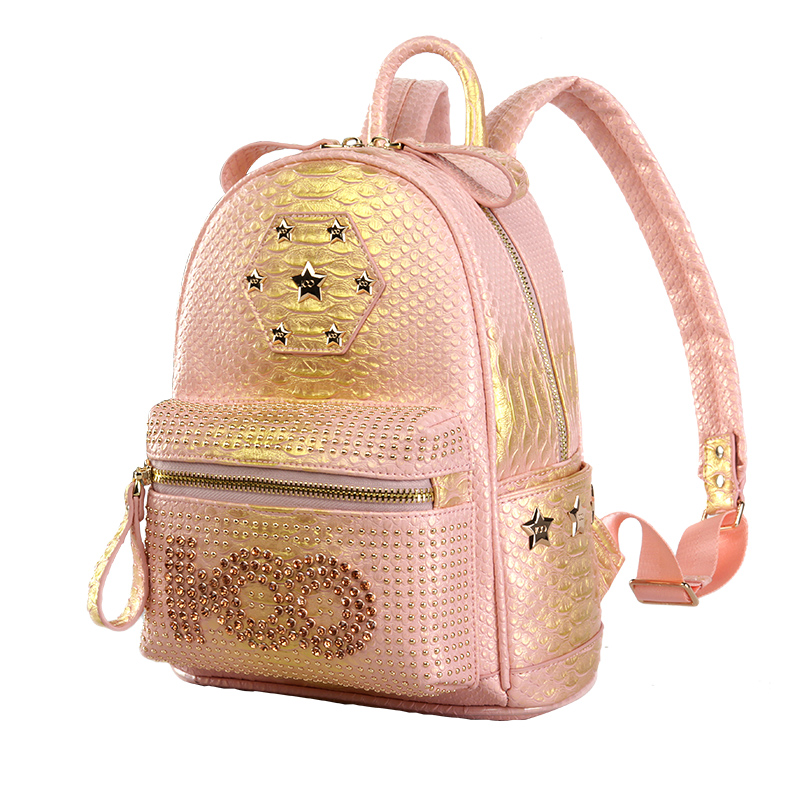 starbags 2017 new arrival high quality women leather travel rivet backpack school backpacks for teenage girls new arrival set of four rivet with embossing backpack female rivet woolly bear pendant with fashion backpacks b 40