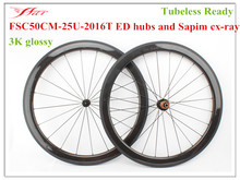 Light weight Bicycle Wheels , 50mm depth 25mm width carbon fiber wheels clincher Tubeless Ready , 3K glossy appearance 20h 24h