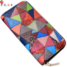 PUOU  Brand Womens Wallets Purses Plaid PU Leather Long Wallet Hasp Phone Bag Money Coin Pocket Card Holder Female Wallet Purse ybyt brand 2017 new simple leisure lichee pattern soft long wallet hotsale ladies pu leather cell phone coin purses card package