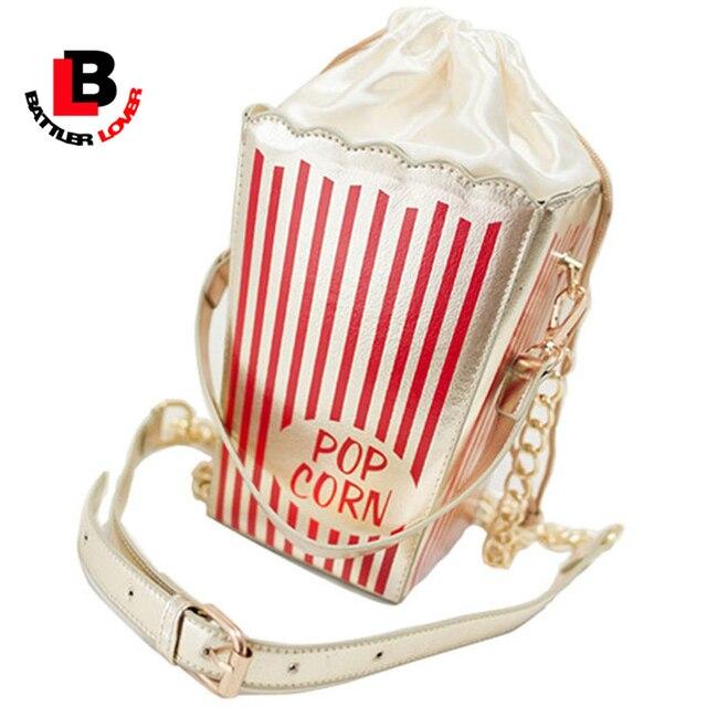 2017 femmes popcorn messenger sac nouvelles filles lady kid sac populaire personnalité drôle chaînes doux parti sac à main coin petit embrayage