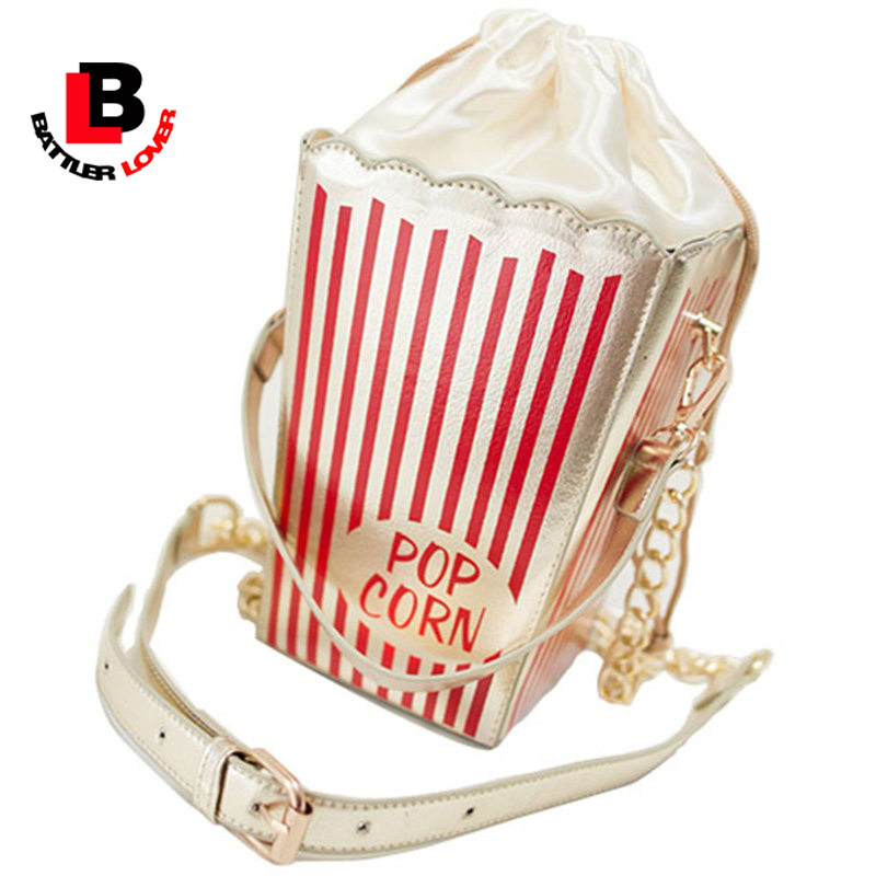 2017 women popcorn messenger bag new girls lady kid bag popular personality funny chains sweet party handbag coin small clutch 3d lipstick cross body bag women s new american street fashion novelty quirky funny party statement clutch bag handbag