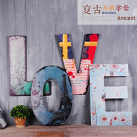 Retro wooden letters wall decoration living room bar cafe hanging decor nordic style kids door habitacion accessories farmhouse
